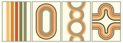 Fototapeta retro vintage 70s style stripes background poster lines. shapes vector design graphic 1970s retro background. abstract stylish 70s era line frame illustration
