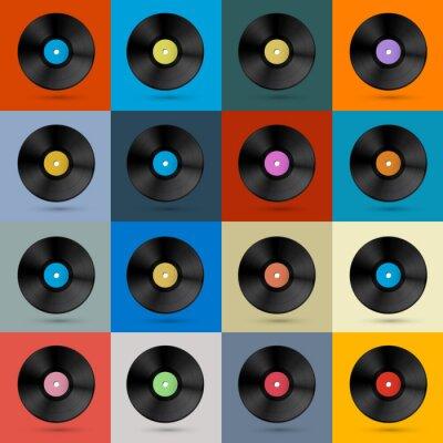 Fototapeta Retro, vintage, vector tle Vinyl Record Disc