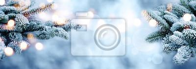 Fototapeta Rime pokryte jodły oddziałów z bokeh w zimie