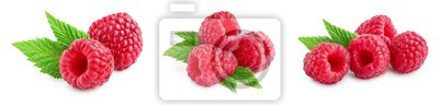 Fototapeta Ripe raspberries with leaf isolated on a white background, Set or collection
