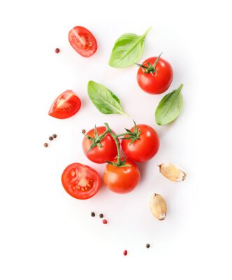 Fototapeta Ripe red cherry tomatos  and basil isolated on white background. Top view