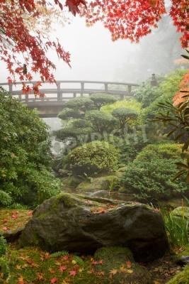 Fototapeta Rock and Most pod klon drzewa w Ogrodzie Japońskim