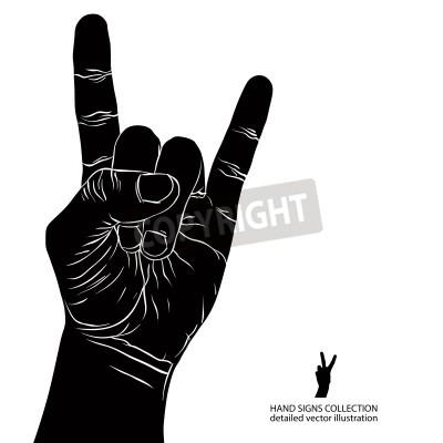 Fototapeta Rock on znakiem ręki, rock n roll, hard rock, heavy metal, muzyka, szczegółowe czarno-białych ilustracji wektorowych.