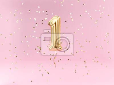 Fototapeta Roczne urodziny. Balon foliowy numer 1 i konfetti. Tło rocznicy.