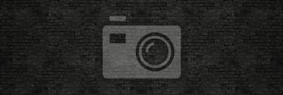 Fototapeta Rocznik czerni obmycia ściana z cegieł tekstura dla projekta. Panoramiczny tło dla tekstu lub obrazu.