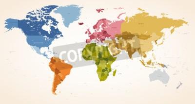 Fototapeta Rocznika kolory High Detail map wektorowych ilustracji całej mapy świata.