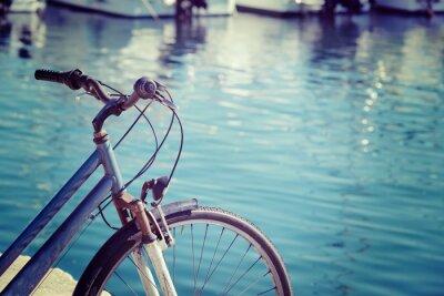 Fototapeta rocznika rower nad morzem w Alghero