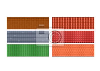 Fototapeta Rodzaje dachówek, dachów dla domu, różne kolory, tekstury, materiały.