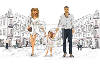 Rodzina spacerująca po ulicach starego miasta.