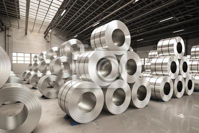 Fototapeta Rolka z blachy stalowej w fabryce