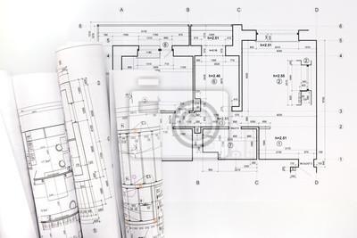 Fototapeta Rolki Plany I Rysunki Architektoniczne Projektu Na Wymiar