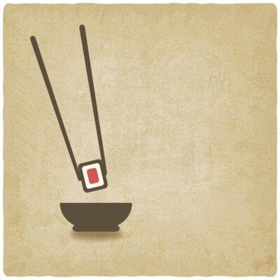 Fototapeta roll sushi stare tło - ilustracji wektorowych