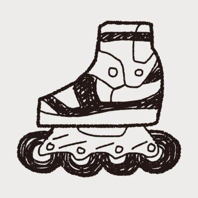 Fototapeta Roller skate doodle
