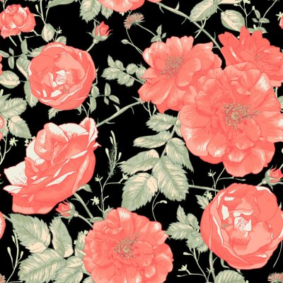 Fototapeta Romantic Roses bez szwu rocznika tle