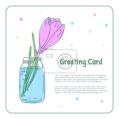 Romantyczny różowy kwiat w słoiku. Kartka z życzeniami. Element wektora projektu.