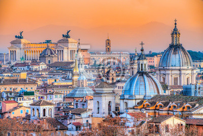 Fototapeta Rome at sunset time with St Peter Cathedral