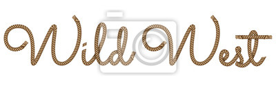 Fototapeta Rope hand drawn lettering Wild West with 3d realistic effect. Vector illustration EPS 10.