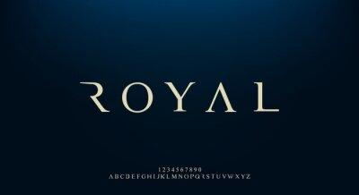 Fototapeta Royal, an elegant alphabet font and number. Premium uppercase fashion Design typography. vector illustration