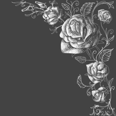 Fototapeta Róże dekoracji na ciemnym tle