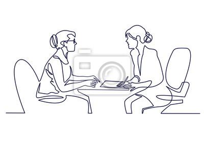 Fototapeta Rozmowa kwalifikacyjna - wektor nowoczesna prosta kompozycja jednoliniowa z rekruteriem i kandydatem. Ciągłe rysowanie linii dwóch kobiet rozmawia przy stole.