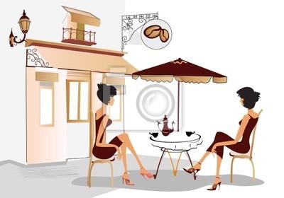 Rozmowy dziewczyny w kawiarni