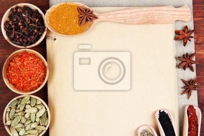 Fototapeta Różne przyprawy i zioła z pustym białym puste dla receptury