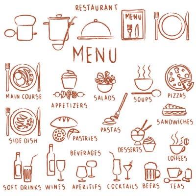 Fototapeta Różne ręcznie rysowane elementy menu restauracji