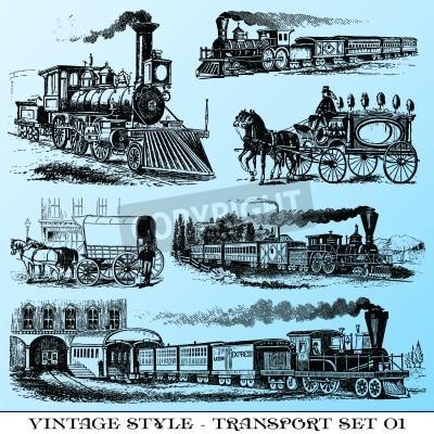 Fototapeta różne Vintage styl ilustracje - starożytny zestaw transportowy