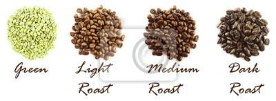 Różne ziaren kawy samodzielnie na białym tle