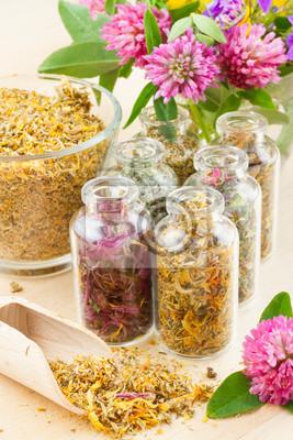 różne zioła lecznicze w szklanych butelkach, bouqet kwiaty, zioła