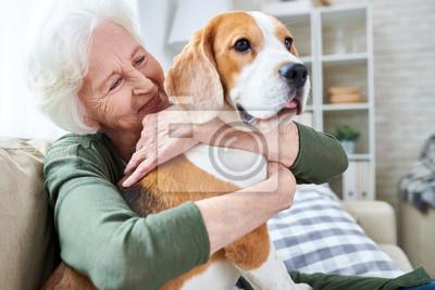 Fototapeta Rozochocona przechodzić na emeryturę starsza kobieta ono uśmiecha się z zmarszczeniami podczas gdy obejmujący jej Beagle psa i cieszy się czas z zwierzęciem domowym w domu