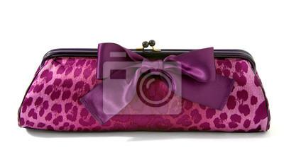 439161fa5a6bbf Różowa Pantera sprzęgła z wielkim fioletowym wstążką. Leopard skóry  ilustracji