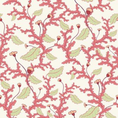 Fototapeta Różowe gałęzie bezszwowe wzór botaniczny