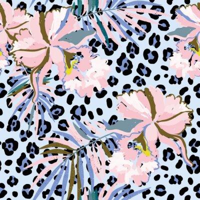 Fototapeta Różowe kwiaty orchidei z liści palmowych na tle leopard skóry. Wektor bez szwu z tropikalnych roślin i zwierząt drukuj. Serenity i różowy.