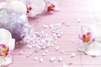 Fototapeta Różowe storczyki i spa aromaterapia abstrakcyjne martwa natura