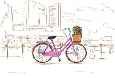 Fototapeta Różowy Retro Rower z kwiatami na szkic miasta