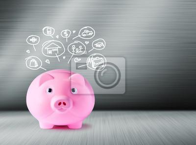 Różowy Skarbonka i ikony projektowania. Koncepcja oszczędności.