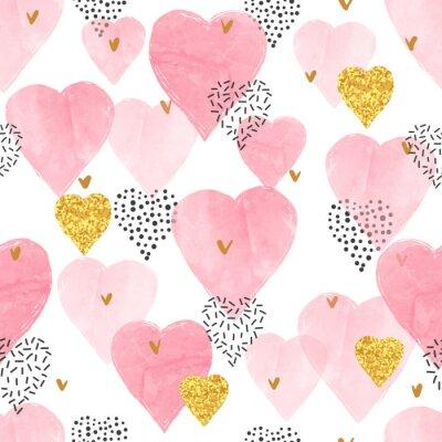 Fototapeta Różowy wzór serca akwarela. Walentynki bez szwu tła.