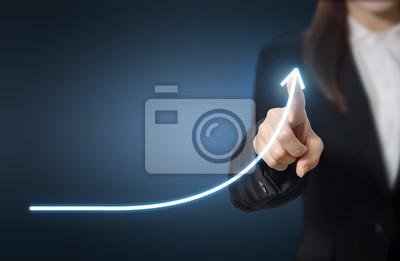 Fototapeta Rozwój i koncepcja wzrostu. Wzrost planu Biznesmen i wzrost pozytywnych wskaźników w jego działalności.