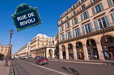 Fototapeta Rue de Rivoli w Paryżu, z płytą ulicy