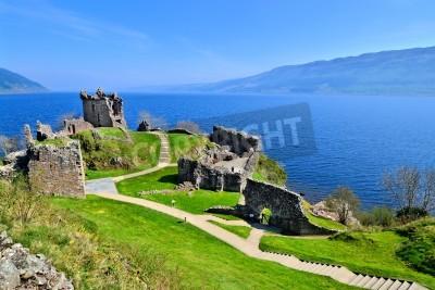 Fototapeta Ruins of Urquhart Castle along Loch Ness, Scotland