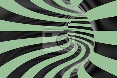 Rura lub wirować co zielone i czarne tło w 3D