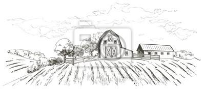 Fototapeta Rural landscape field wheat. Hand drawn vector Countryside landscape engraving style illustration.
