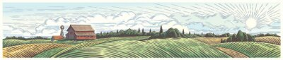 Fototapeta Rural landscape, panoramic format with a farm with and agricultural fields around.