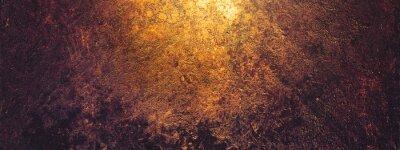 Fototapeta Rust and oxidized metal background, banner. Grunge rusted metal texture. Old worn metallic iron panel