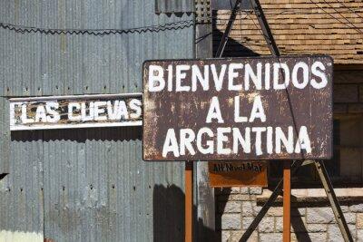 Fototapeta Rusted zapraszamy do Argentyny znak napisany w języku hiszpańskim