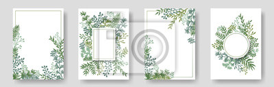 Fototapeta Rustic invitation cards with herbal twig branches wreath and corners border frames.