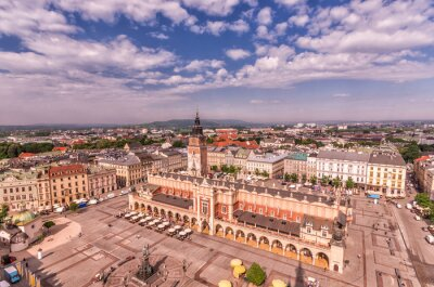 Fototapeta Rynek Główny, Sukiennice i wieża ratuszowa widziana z góry, Kraków, Polska