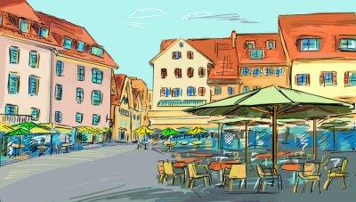 Fototapeta rysowane ilustracji do starego miasta