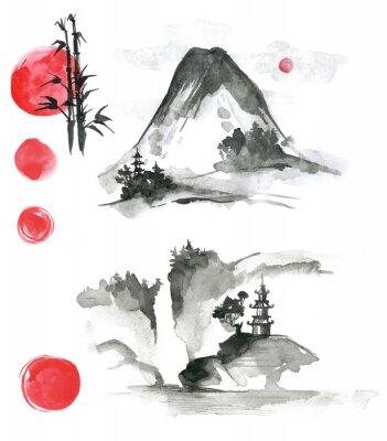 Fototapeta Rysowane ręcznie atramentowe elementy sumi-e: landskype, słońce, świątynia, bambus,